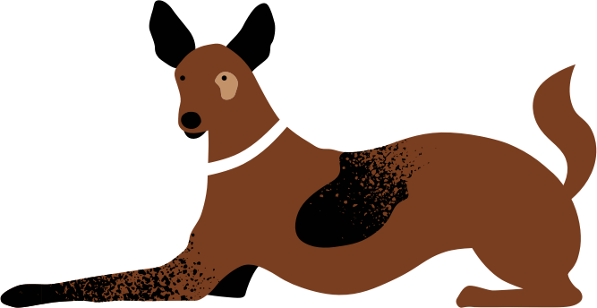 Illustrated Brown Dog Sitting