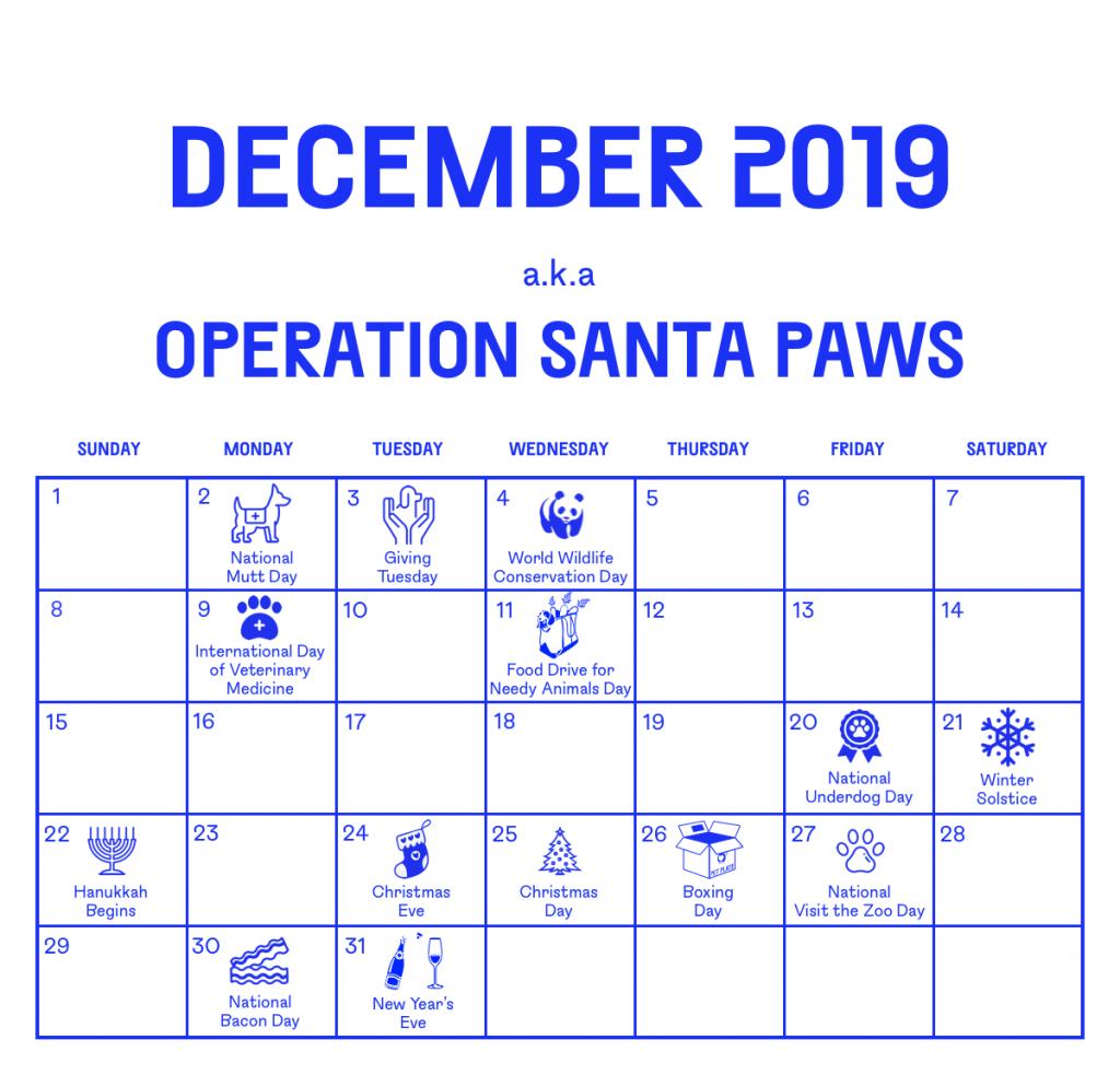 Calendar of December 2019 events